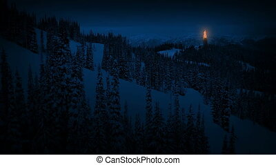 Fire Beacon In The Mountains At Night - Tower with signal...