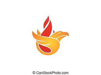 fire bird eagle abstract vector logo