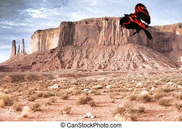 Fire bird eight - Fire bird flying over monument valley