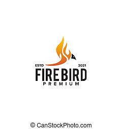 Fire bird logo design template