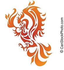 Fire bird vector illustration