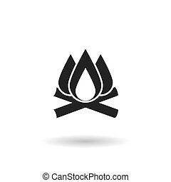 Fire black flat vector icon