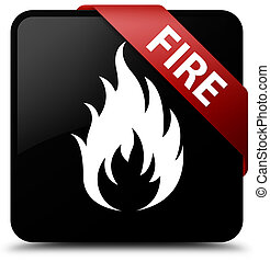 Fire black square button red ribbon in corner