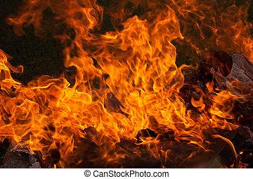 Fire blaze - Full campfire blaze, also has several visible...