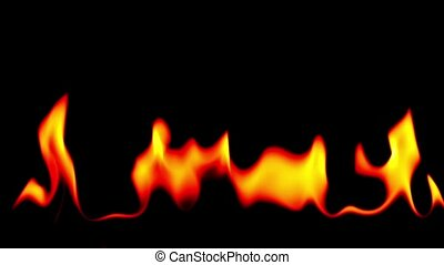Fire blowing out over black background