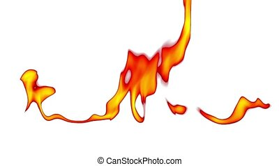 Fire blowing out over white background