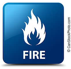 Fire blue square button