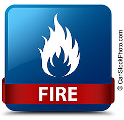 Fire blue square button red ribbon in middle