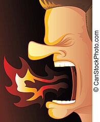 Fire Breathing Anger - Man Yelling with Hot Fire Burning His...