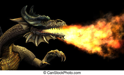 Fire Breathing Dragon - 3D render of a fire breathing dragon...