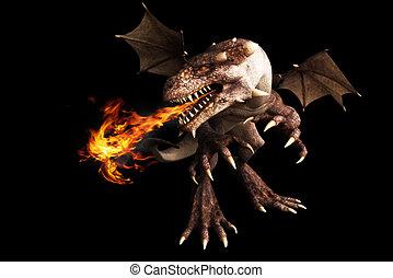 Fire breathing dragon on black - Fire breathing dragon on a...