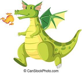 Fire breathing green dragon