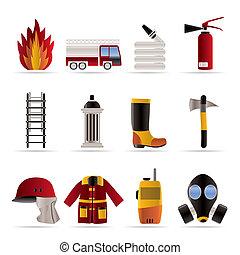 fire-brigade, és, tűzoltó, felszerelés