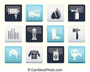 fire-brigade and fireman equipment icons over color...