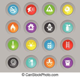 fire brigade colored plastic round buttons icon set