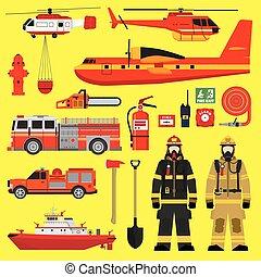 Fire brigade equipment infographics set