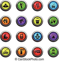 fire brigade icon set - fire brigade icons on color round...