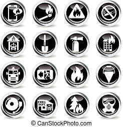 fire brigade icon set - fire brigade icons on stylish round...
