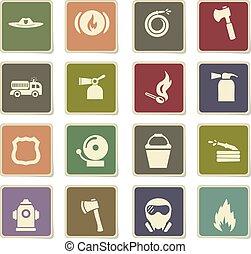 fire brigade icon set - fire brigade vector icons for user...