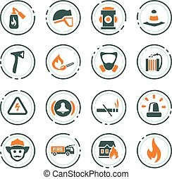 Fire-brigade icon set - Fire-brigade vector icons for user...