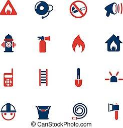 fire brigade icon set - fire brigade vector icons for web...