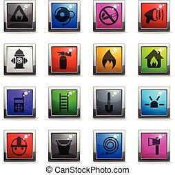 fire brigade icon set - fire brigade vector icons in square...