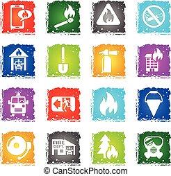 fire brigade icon set - fire brigade web icons in grunge...