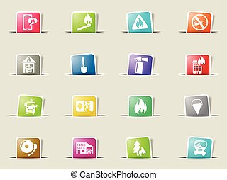 fire brigade icon set - fire brigade web icons on color...