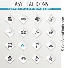 Fire brigade icons set - Fire brigade easy flat web icons...