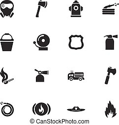 Fire brigade icons set