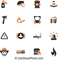 Fire brigade icons set