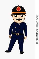 Fire-Brigade Senior Inspector Cartoon Character