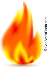 Fire, bright flame on white background