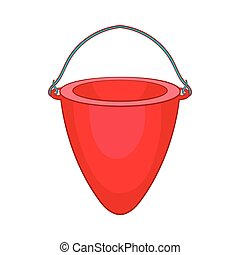 Fire bucket icon, cartoon style