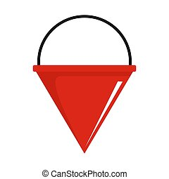 Fire bucket icon, flat style