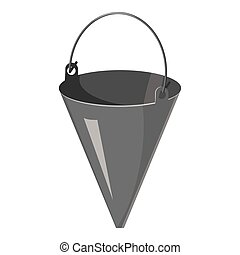 Fire bucket icon, gray monochrome style