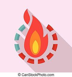 Fire burn calories icon, flat style - Fire burn calories...