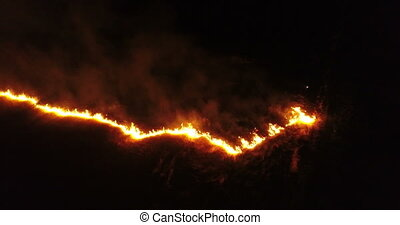 Fire burn night flied - Fire in the flied. Skyline in...