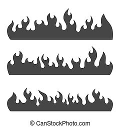 Fire Burning Flames Set on a White Background. Vector