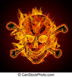 Fire Burning Flaming Metallic Skull with Crossbones