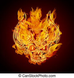 Fire Burning Flaming Skull with Horns