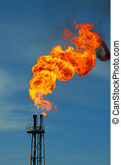 Fire burning, Flare station on of and gas industry, gas ...
