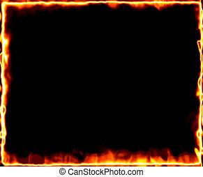 fire burning frame - frame of fire and burning on black