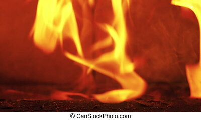fire burning from above in fireplace
