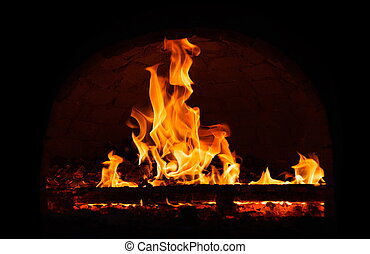 Fire burning in the fireplace.