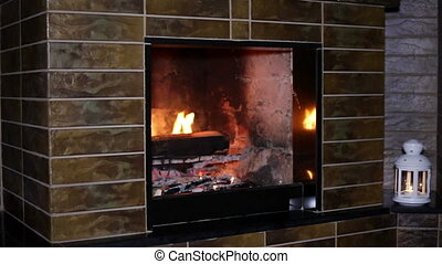 fire burning in the fireplace