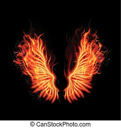 Fire burning wings