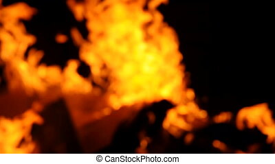 Fire burning with selective focus