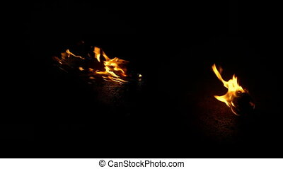 Fire Burns Objects On Ground - Compositing Element - Flaming...