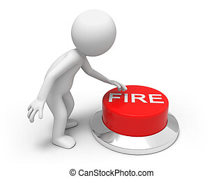 fire button - A man is pushing the button